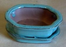 """Lovely Bonsai Pot & Attached Saucer Small 4"""" long New, Light Blue / Green Curved"""