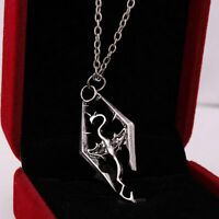 Cool The Elder Scrolls Logo Skyrim Dragon Vinage Charms Pendant Chain Necklace