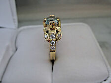 Beautiful 14K Yellow Gold plated 3/4Ct 6mm Light Blue Diamond Engagement Ring