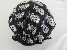 SHOWER CAP HAT  AUSTRALIA  HANDMADE, WATERPROOF SATIN BLACK WITH SILVERY SKULLS
