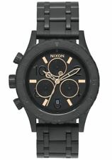 $350 NWT Nixon Women's 38-20 Chronograph Bracelet Watch Black Gold A404-957-00