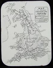 Glass Magic Lantern Slide CONVERSION OF THE HEPTARCHY MAP C1890 BRITAIN