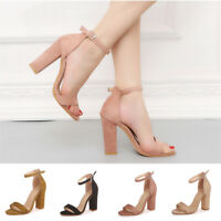 Women Square Thick Fish Mouth Suede Sandals High Heel Sandals Fashion Shoes New