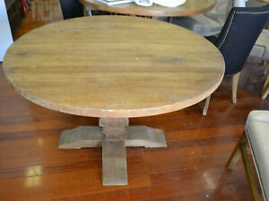 Provincial Rustic Elm Wood Round Pedestal Dining Table