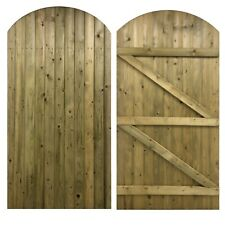 Arched Curved Wooden Pedestrian Garden Side Gates - HEAVY DUTY Solid Boarded
