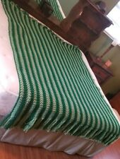 Vintage Afghan Crocheted Handmade Stripe Dark & Light Green Blanket Throw 80x62