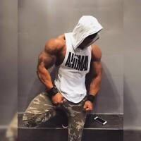 Men Gym Muscle Workout Run Shirt Lightweight Sleeveless Athletic Hoodies Tank