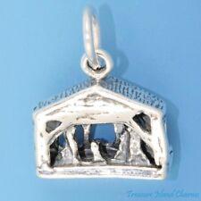 NATIVITY SCENE BIRTH OF JESUS CRECHE CHRISTMAS 3D .925 Sterling Silver Charm