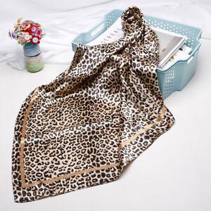 "Women Fashion Leopard Print Square Scarf Imitate Silk Shawl Hijab Wraps 35""*35"""