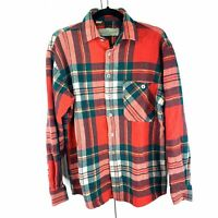 Conte Mosssimo Vintage Heavyweight Flannel Button Up Red Plaid Shirt Medium