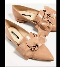 ZARA NUDE FLAT SHOES WITH BOW DETAIL POINTED TOE SIZE 7.5 EU 38