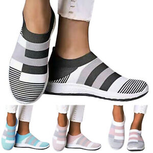 Womens Ladies Slip On Sneakers Trainers Casual Sport Running Gym Sock Shoes Size