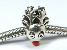 AUTHENTIC CHAMILIA 925 SILVER RUDOLF RED NOSE REINDEER CHARM BEAD Bracelet