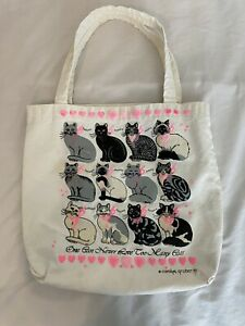 Vintage 80s Cat Lovers Adorable Cute Tote Hand Bag 13 x 12.5 Inches