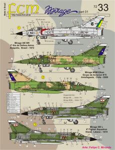 Decal Mirage III 1/72 Brazil, Lebanon & Chile FCM72033