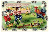 Anthropomorphic~Dressed Bunny Rabbits~Play Baseball~1910 Easter Postcard-m750