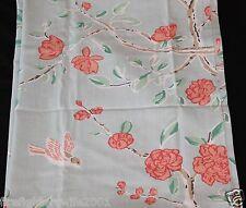 threshold aqua peach birds floral fabric shower curtain 72x72 nwop 44