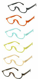 1 or 3 Pair Half Moon Colorful Frame Full Lens Reading Glasses Spring Hinges