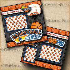 BASKETBALL 2 premade SCRAPBOOK pages paper piecing  LAYOUT boy DIGISCRAP #A0080