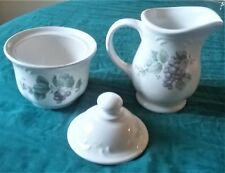 Pfaltzgraff Grapevine Stoneware Creamer & Sugar Bowl with lid - 3 Piece Set