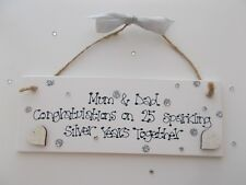 Personalised Silver Wedding Anniversary Wooden Plaque Gift Keepsake