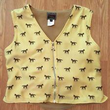 Women's Studio West Pale Yellow Horse Print Western Zip Front Vest Size Medium