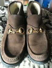 Gucci 0067 114 Brown Suede Horsebit Ankle Boots Size 8.5