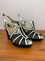 Mimco Wedge White Leather Black Mesh Zip Shoes
