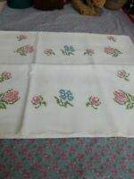 2 Vintage Hand embroidered pillowcases all the way up pillowcases Floral Guc