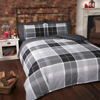 Rapport Argyle Tartan Reversible Stripe Duvet Cover Set Grey/Black Free P&P