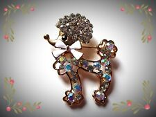 Stunning Rhinestone Poodle Brooch Puppy Dog Diamante Gems Sparkly Gift Idea UK