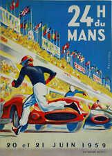 VINTAGE 1959 LE MANS AUTO RACING POSTER PRINT 36x26