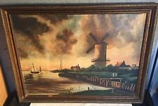 Vtg FAE COULSON Coutson DUTCH HOLLAND Oil on Canvas PAINTING Windmill Lake Boat