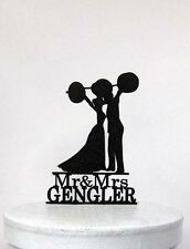 Personalized Wedding Cake Topper - Weight lifting crossfitters with Mr&Mrs name