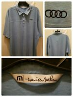 Travis Mathew Golf Polo Shirt Size 2XL XXL Audi Logo Blue Solid Stretchy Panels