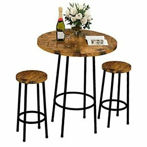 """3 Piece Pub Dining Set Modern Round bar Table and Stools for 2 Kitchen 23"""""""