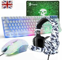 4in1 Combo Wired Led Rainbow Gaming Keyboard Mouse + Headset + Pad For PS4 Xbox