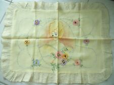 VINTAGE BOUDOIR HAND EMBROIDERED PILLOW SHAM - WOMAN'S FACE & FLOWERS 1920S