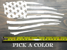 Usa Tattered Flag Sticker Decal Us Distressed American Tactical White Red Xo