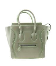 Celine Micro Luggage Beige & Green Trim Leather Tote Bag