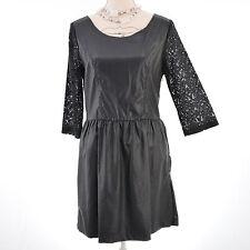 La Petite robe noire femme simili cuir noir dentelle sexy taille 40  ZAZA2CATS