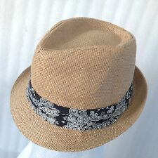 Women Beach Hat Taupe Paisley Sun Jazz Panama Gangster Cap Trilby Fedora Summer
