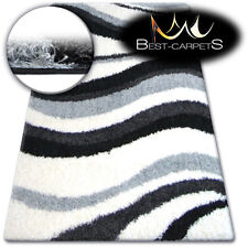 BEAUTIFUL AND VERY SOFT SHAGGY RUGS 'ZENA' Waves grey FLUFFY CHEAP CARPETS