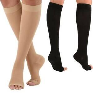 2X Unisex Compression Socks Varicose Knee Vein Open Toe Support Stockings #S04