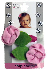 Mia Baby + Girl Snip Snaps, Jerey Material + Jersey Flowers Attached 2pcs