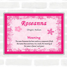 Roseanna nom signifiant jumbo aimant de réfrigérateur rose