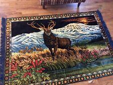 "Vintage P&C VELVET Tapestry Fringed DEER BUCK ITALIAN Wall Hanging Rug 50""x 76"""