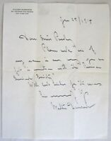 Original 1914 Walter Damrosch Signed Letter to Actress Constance Purdy RARE