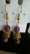 Handmade 18k Gold Plated Amethyst golden Buddha  Earrings