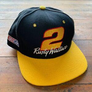 Vintage 90s Deadstock Nutmeg Mills Rusty Wallace NASCAR Racing Snapback Hat